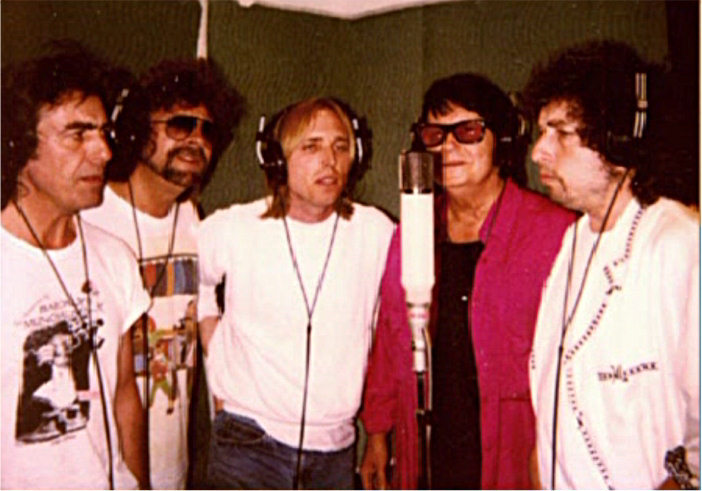 The Traveling Wilburys in the studio
