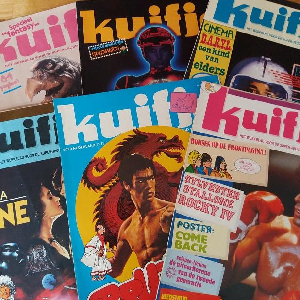 Weekblad Kuifje met filmposters Tron, Dark Crystal, Bruce Lee, Dune